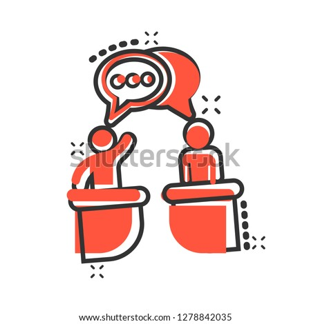 Politic debate icon in comic style. Presidential debates vector cartoon illustration pictogram. Businessman discussion business concept splash effect.