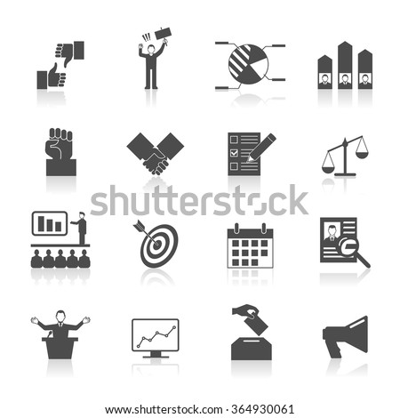 Politic icons set with election symbol voting diagram in black and white vector illustration  ストックフォト ©