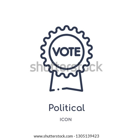 political american elections publicity badge icon from political outline collection. Thin line political american elections publicity badge icon isolated on white background.