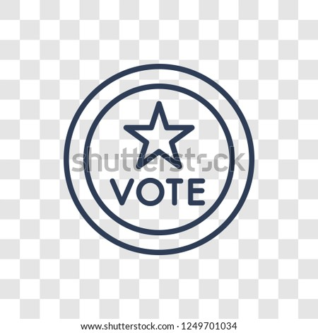 Political american elections publicity badge icon. Trendy linear Political american elections publicity badge logo concept on transparent background from Political collection