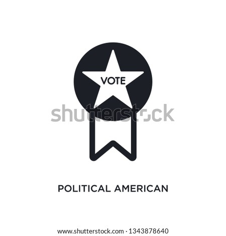political american elections publicity badge isolated icon. simple element illustration from political concept icons. political american elections publicity badge editable logo sign symbol design on