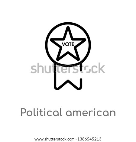 political american elections publicity badge vector line icon. Simple element illustration. political american elections publicity badge outline icon from political concept.