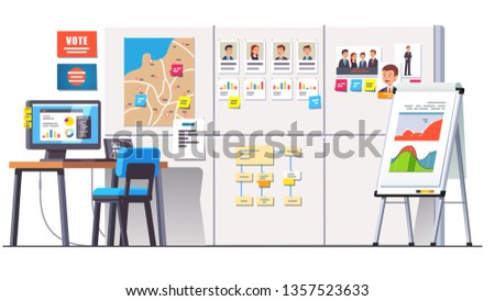 Political campaign office with research data on big whiteboard with statistical graphs, strategy diagrams, candidate politicians photos, regional map & pc desk. Flat vector interior illustration