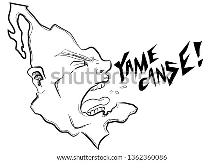 Political Cartoon Mexico is tired. It Shouts It Screams for a change. Is a vectorized ink style illustration.
