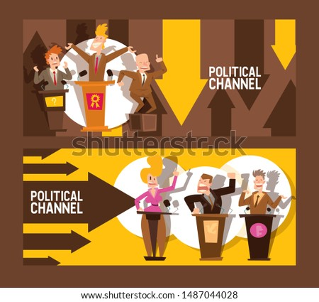 Political channel set of banners vector illustration. Male and female politicians taking part in political debates in front of audience. Pair of government workers talking or having dispute.