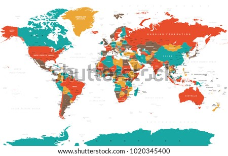 Political Colored World Map Vector illustration #1020345400