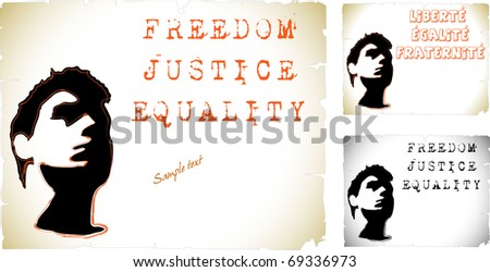 Political convictions. Freedom, justice, equality. Silhouette of face. France. French Revolution. Liberte, egalite, fraternite.