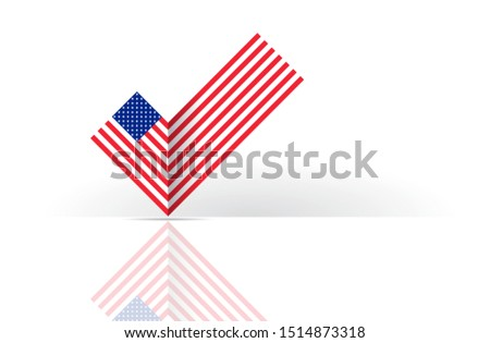 Political election voting poster USA flag check box Yes sign. State symbol of the USA for official events. Headline for a political article news of the day