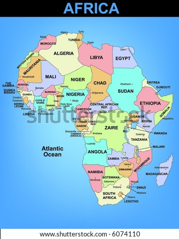 Political illustrated map of Africa