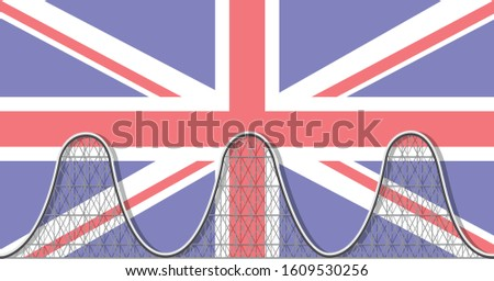 Political instability, uncertainty, problems and success - ups and downs in Britain - a rollercoaster over the British flag