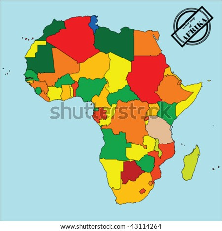 Political map of Africa in colors, easy to edit, copy, paste, move countries. vector