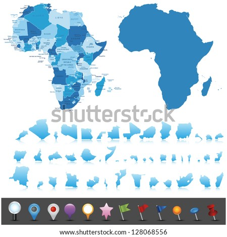 Political map of Africa .Vector