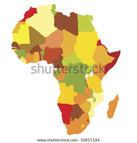 political map of africa with country territories in different colors - stock vector