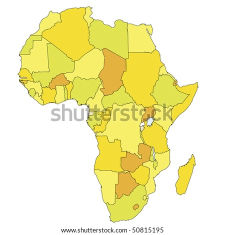 political map of africa with country territories in different colors