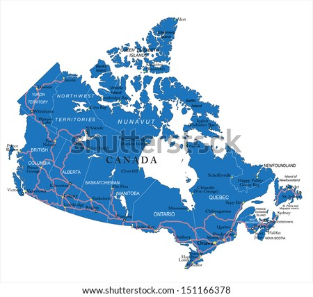 Canada Map Vector Download Free Vector Art Stock Graphics Images - The political map of canada