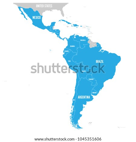 Political map of Latin America. Latin american states blue highlighted in the map of South America, Central America and Caribbean. Vector illustration.