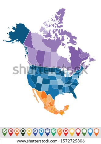 Political map of North America  Stock photo ©
