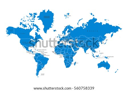 Political map of the world. Blue world map-countries. Vector illustration