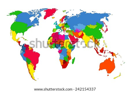 Political map of the world. Colorful world map-countries. Vector illustration #242154337