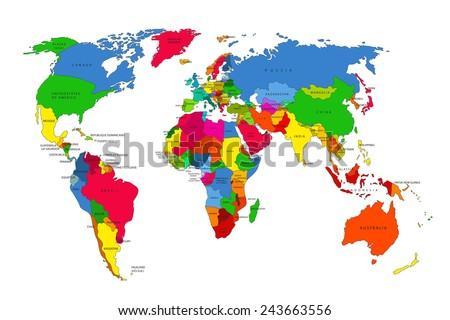 Political map of the world. Colorful world map-countries. Vector illustration #243663556
