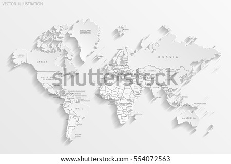 Political map of the world. White world map-countries. Paper. Vector illustration