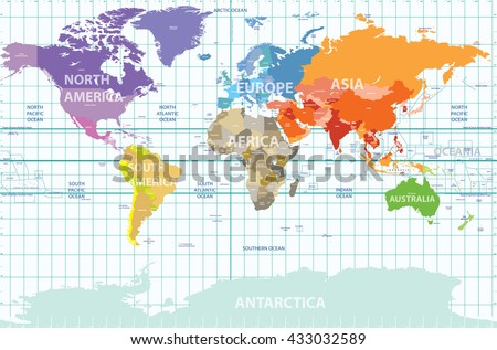 Political Map Of The World With All Continents Separated By Color, Labeled  Countries And Oceans
