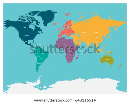 Political map of world with Antarctica. Continents in different colors on blue background. White labels with states and significant dependent territories names. High detail vector illustration.