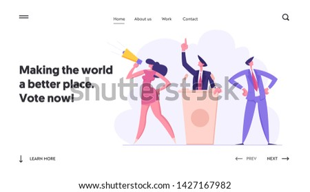 Political Meeting, Candidate Voting Speech. Pre-election Campaign, Voters with Megaphone Promoting and Advertising Candidate, Website Landing Page, Web Page. Cartoon Flat Vector Illustration, Banner
