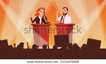 Political Meeting Vector. Political Campaign. Tribune. Speaker Training. Persuades To Vote. Advertising Of Candidate. Flat Cartoon Illustration