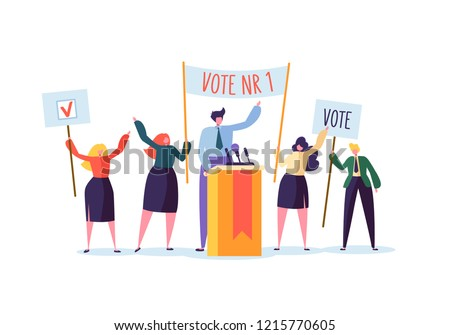 Political Meeting with Candidate in Speech. Election Campaign Voting with Characters Holding Vote Banners. Man and Woman Voters. Vector illustration