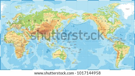 Political Physical Topographic Colored World Map Pacific Centered- vector