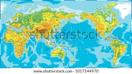 Horarios de asia descargue grficos y vectores gratis political physical topographic colored world map pacific centered vector gumiabroncs Images