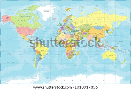 Zona horaria mundial descargue grficos y vectores gratis political physical topographic colored world map vector illustration gumiabroncs Image collections