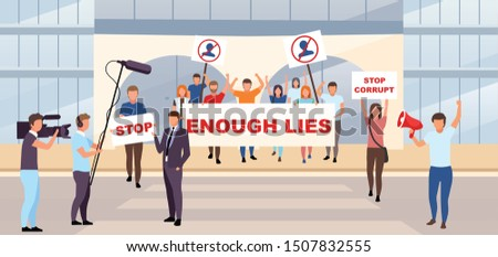 Political protest action flat vector illustration. Democracy manifestation, patriotic demonstration concept. Picket, strike activists holding placards with slogans against authority cartoon characters