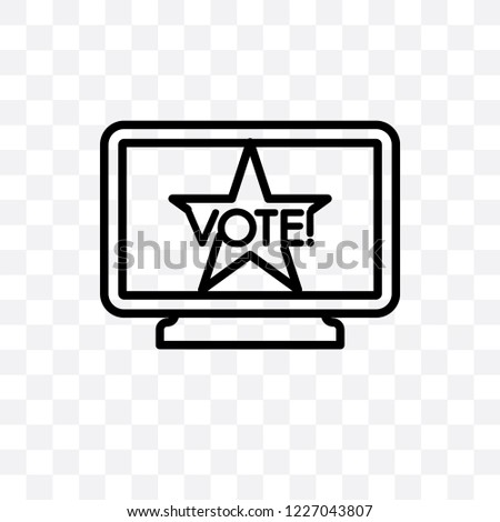 Political publicity on monitor screen vector linear icon isolated on transparent background, Political publicity on monitor screen transparency concept can be used for web and mobile