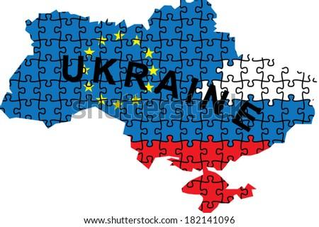 political puzzle map of ukraine