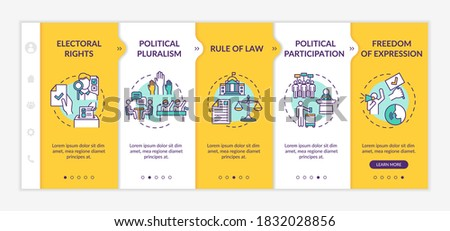 Political rights onboarding vector template. Political pluralism. Rule of law. Freedom of expression. Responsive mobile website with icons. Webpage walkthrough step screens. RGB color concept Сток-фото ©