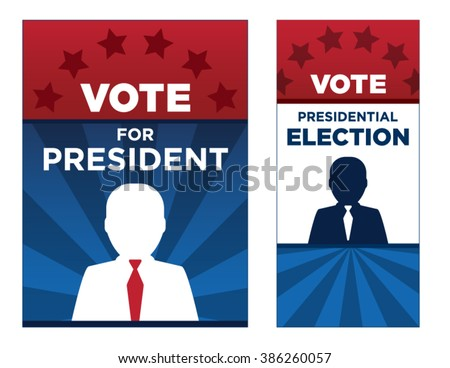 Political vector brochure or sign background template. Stars, stripes and man silhouette layout template