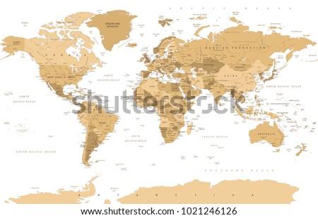 Political Vintage Golden World Map Vector illustration #1021246126