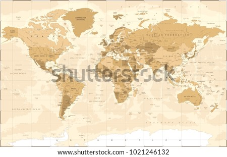 Political Vintage Golden World Map Vector illustration #1021246132