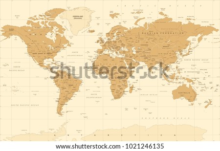 Political Vintage Golden World Map Vector illustration #1021246135