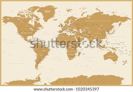 Political Vintage World Map Vector illustration #1020345397