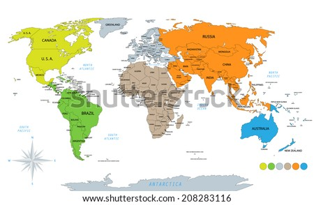 Political world map on white background, with every state labeled and selectable. Colored by continents. Versatile file, turn on an off visibility and color of each country in one click.