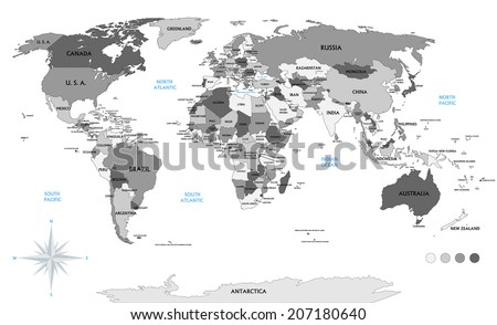 Political world map on white background, with every state labeled and selectable (labeled in Layers panel also). Versatile file, turn on an off visibility and color of each country in one click.