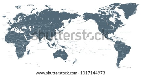 Political World Map Pacific Centered - vector