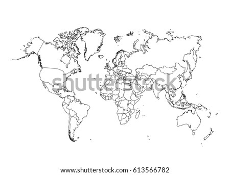 White outline world map vector download free vector art stock political world map vector illustration gumiabroncs Choice Image