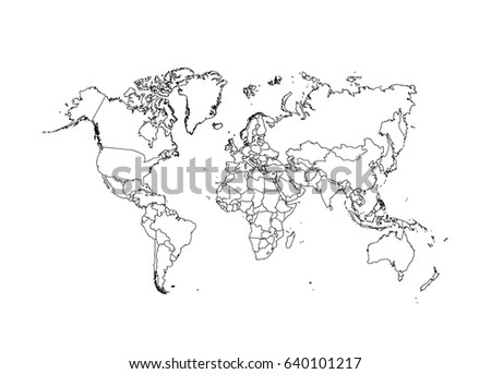 White outline world map vector download free vector art stock political world map vector illustration gumiabroncs Gallery