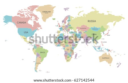 Political World Map vector illustration isolated on white background. Editable layers clearly labeled.