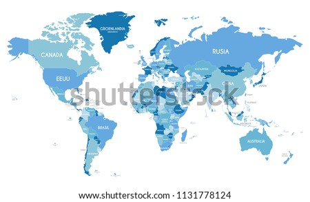 Political World Map vector illustration with different tones of blue for each country and country names in spanish. Editable and clearly labeled layers.