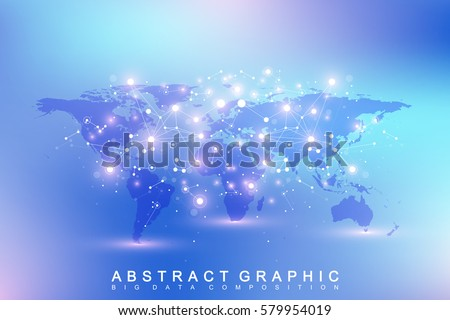 Political World Map with global technology networking concept. Digital data visualization. Lines plexus. Big Data background communication. Scientific vector illustration
